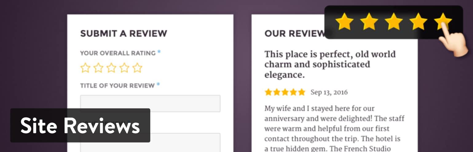 Los Mejores Plugins de Reseñas para WordPress: Site Reviews