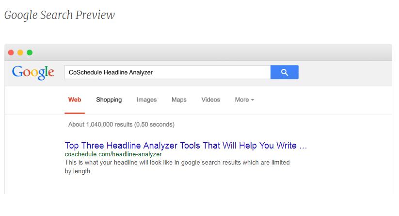 Vista previa de la búsqueda en el CoSchedule Headline Analyzer