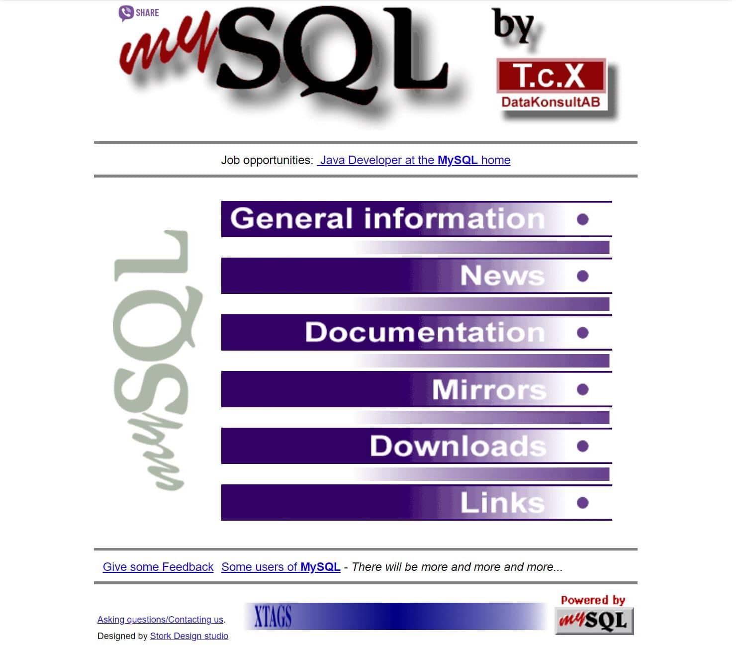 Antigua página MySQL de 1998