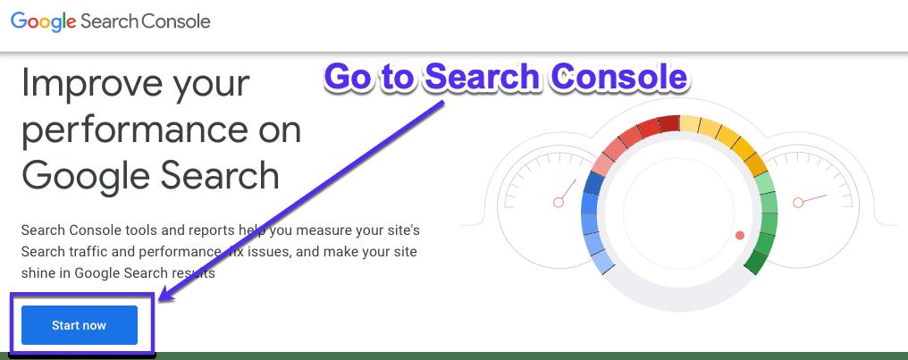 Regístrate en la Google Search Console