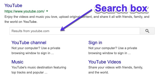Cuadro de búsqueda de Google sitelinks