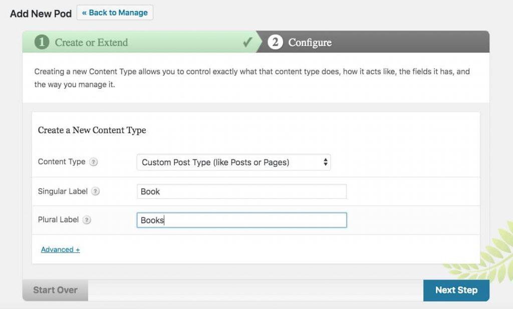 Creación de tipos de mensajes con el plugin Pods