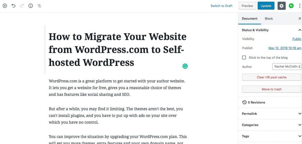 Revisiones en la pantalla de edición posterior de WordPress