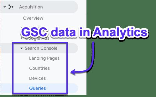 Cómo ver los datos de GSC en Google Analytics