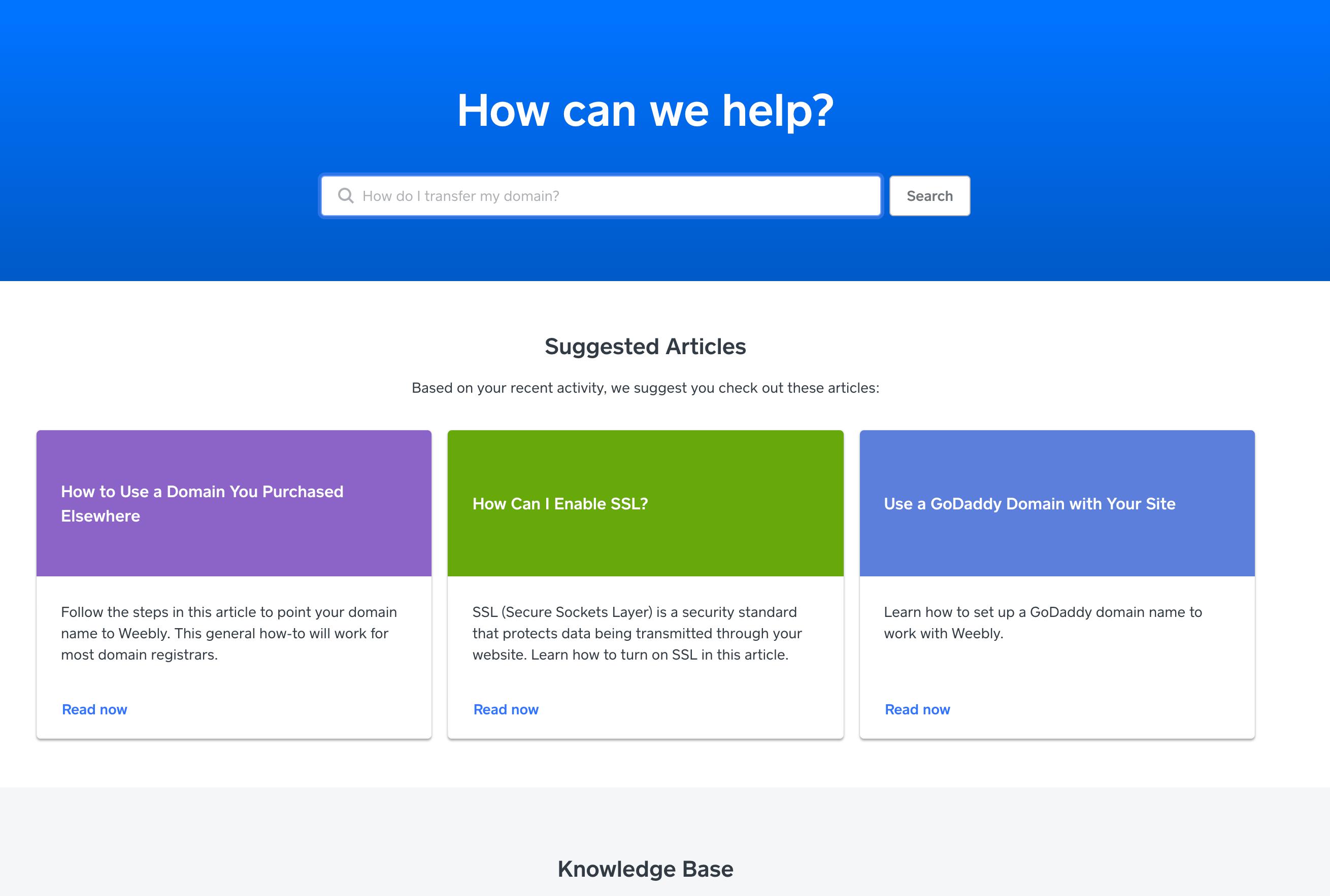 Página principal de soporte de Weebly
