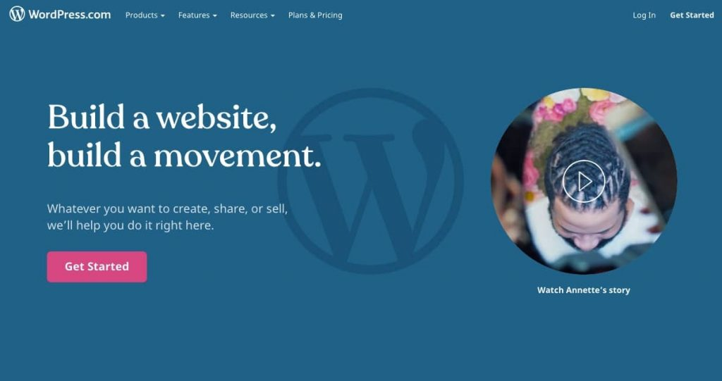 La página de registro de WordPress.com