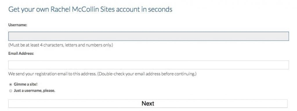 La pantalla de registro wp