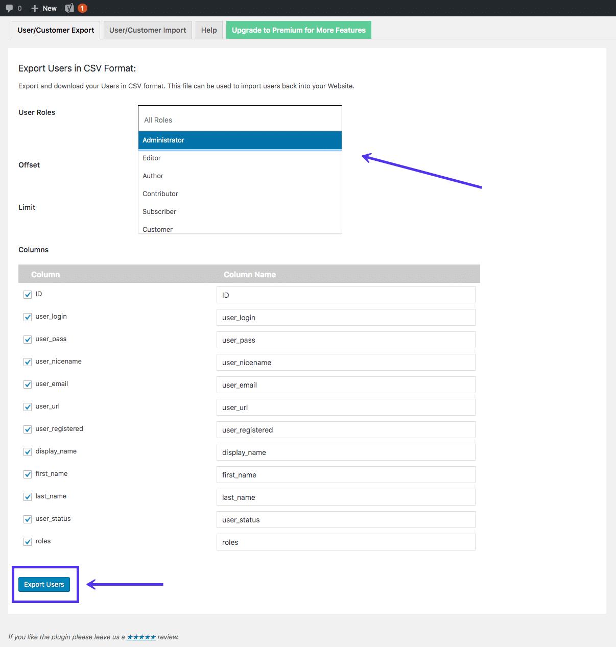 Importar Exportar WordPress Users plugin