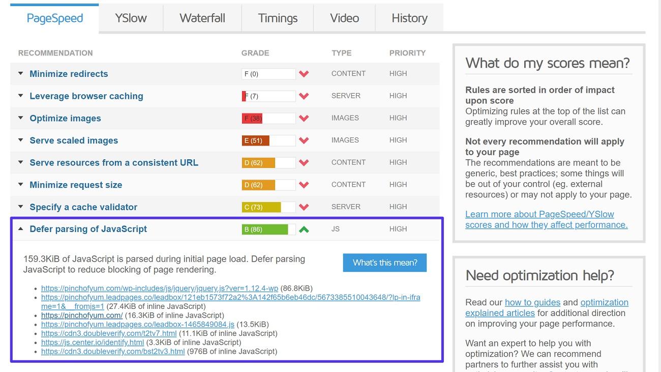 Diferir el análisis de la prueba de JavaScript en GTmetrix