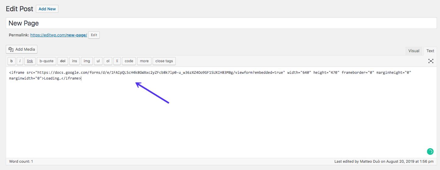 Incrustar el formulario de Google en WordPress Classic Editor