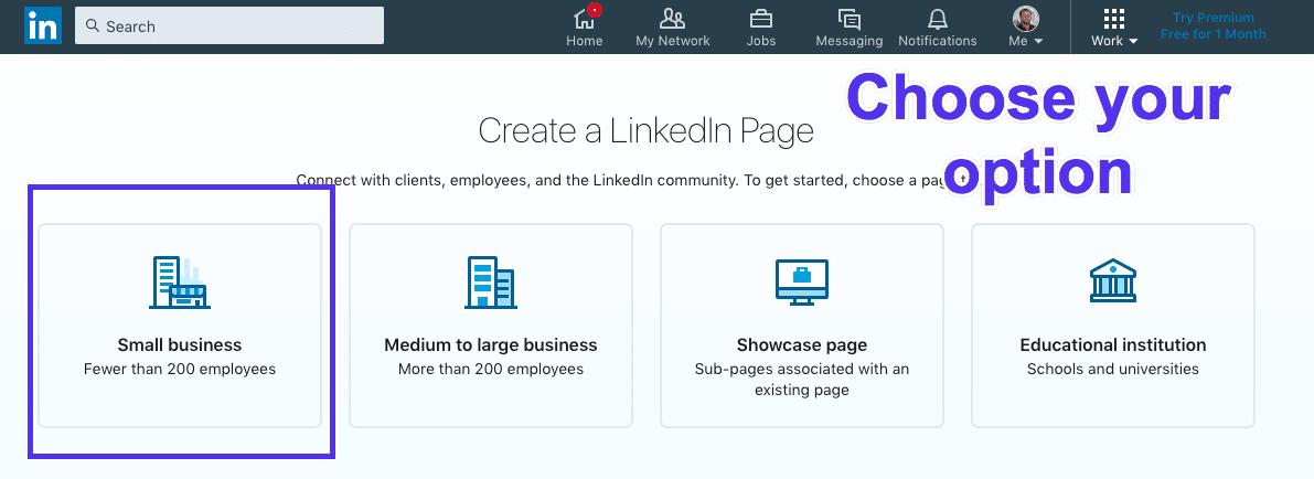 Tipos de páginas LinkedIn