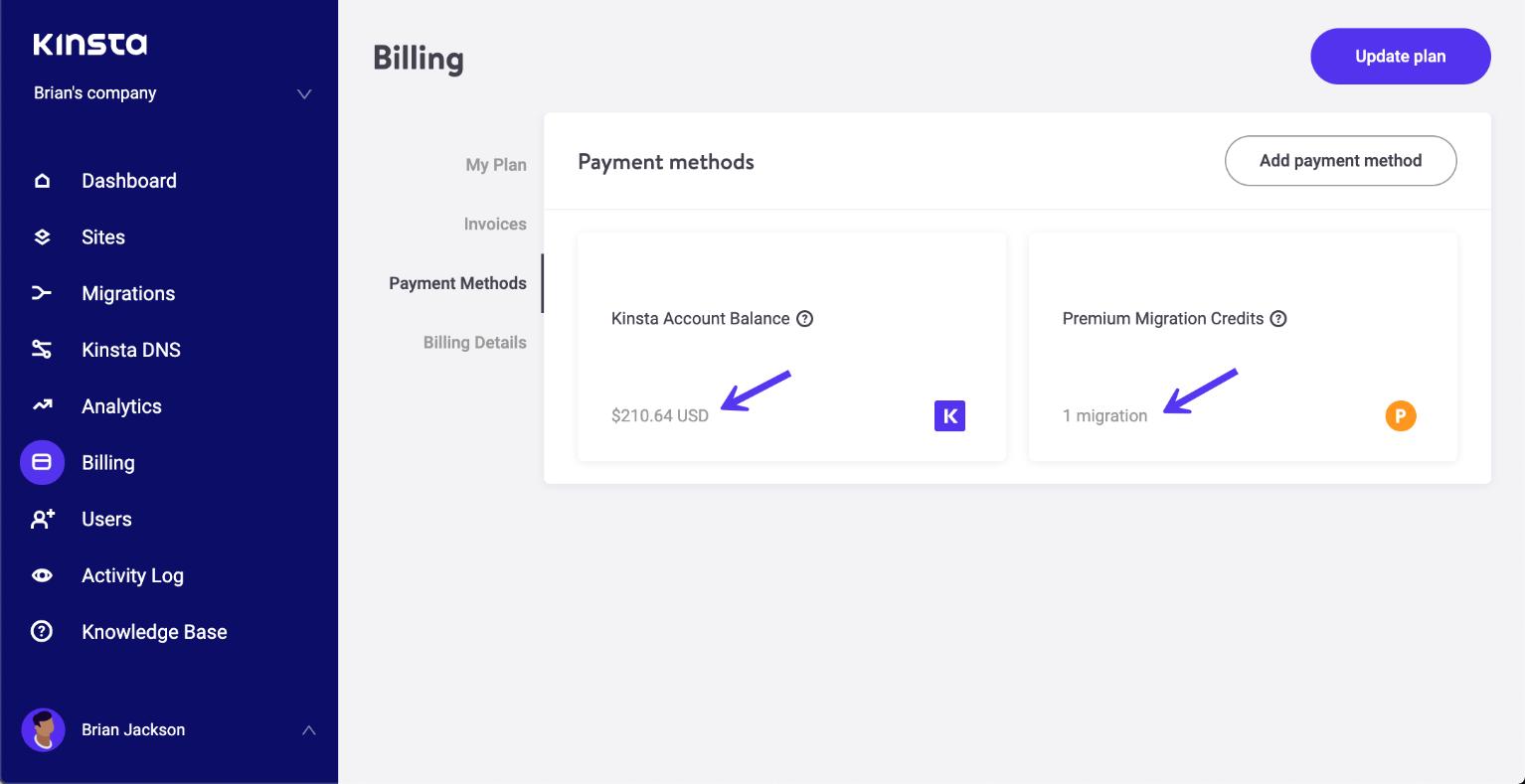 Nueva página de interfaz de usuario sobre métodos de pago