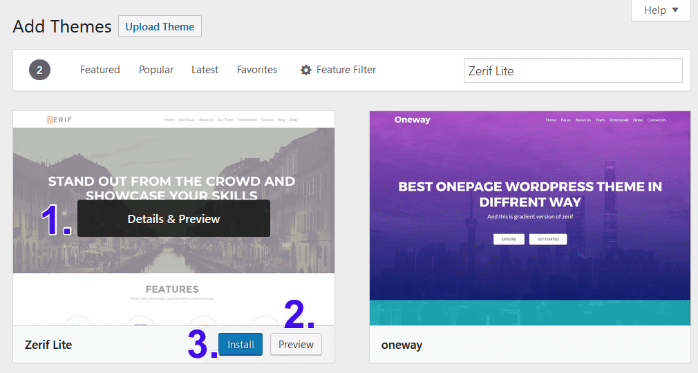Previsualizar o instalar un tema de WordPress