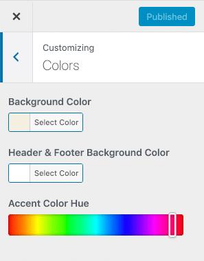 Color de fondo y color de acento en el Personalizador de temas