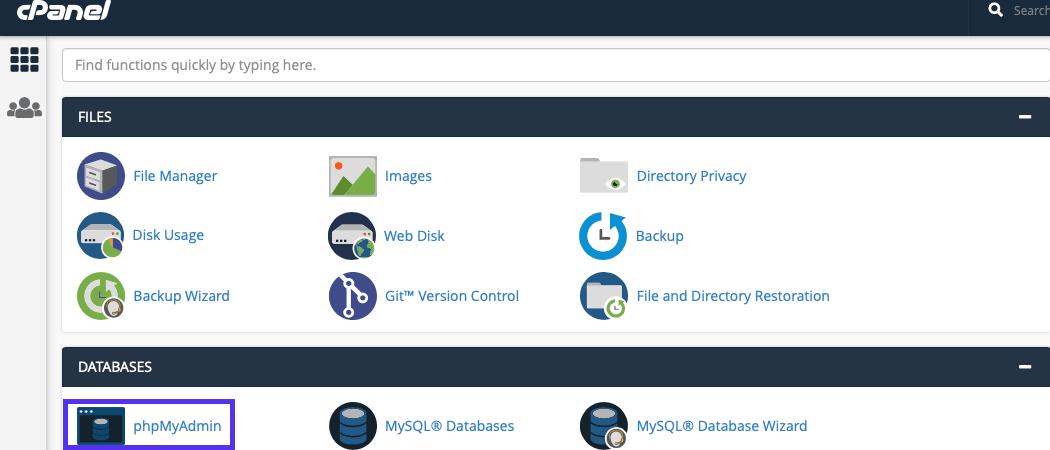 Puede llegar a phpMyAdmin a través de cPanel.