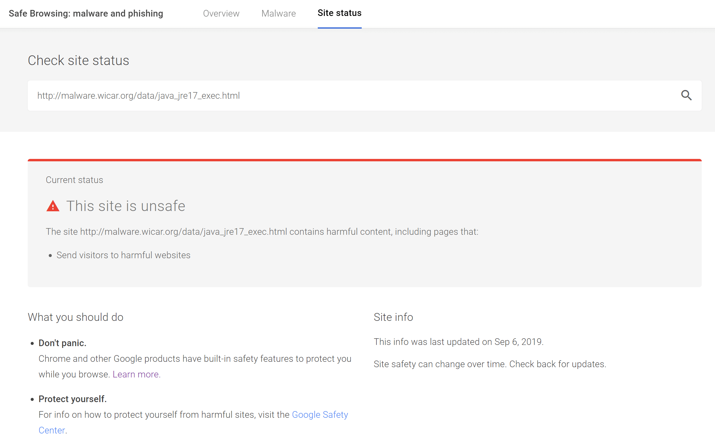Resultados de la herramienta de navegación segura de Google