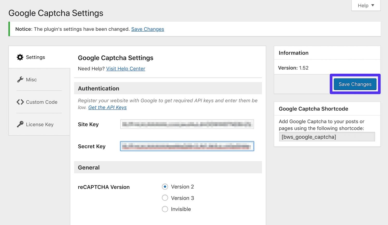 Adición de las claves de Google reCAPTCHA a la configuración del plugin de Google Captcha