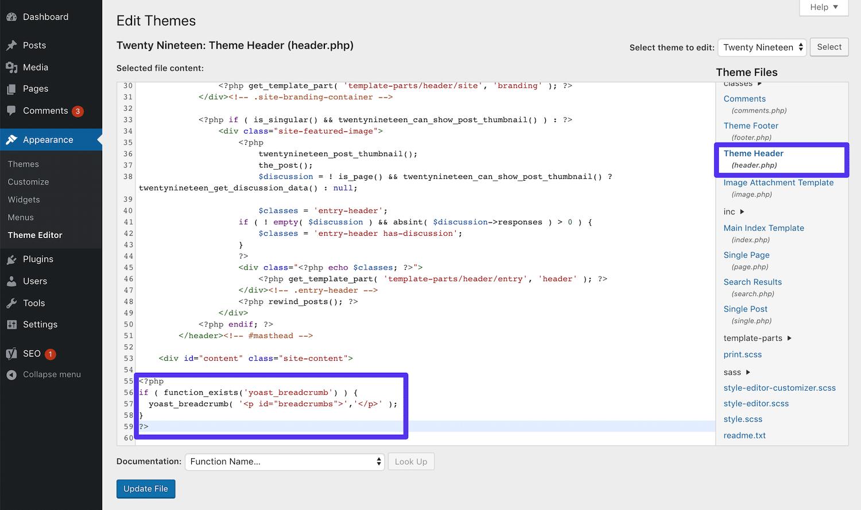 Añadir el código de activación de breadcrumbs Yoast