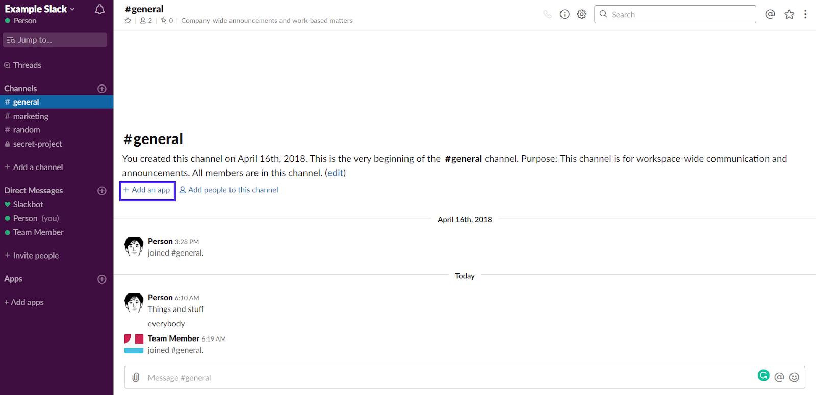 Añadir una aplicación en Slack
