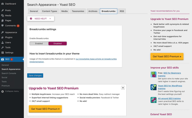 La configuración de Yoast SEO breadcrumbs