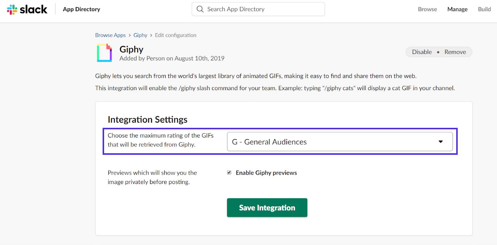 Configuraciones de integración Giphy