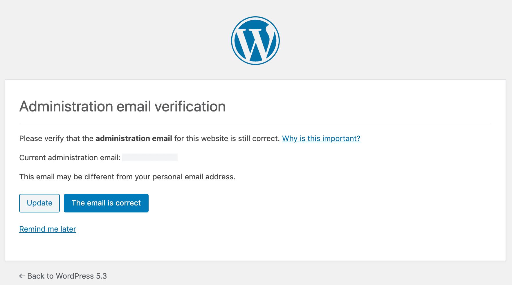Verificación del correo electrónico del administrador