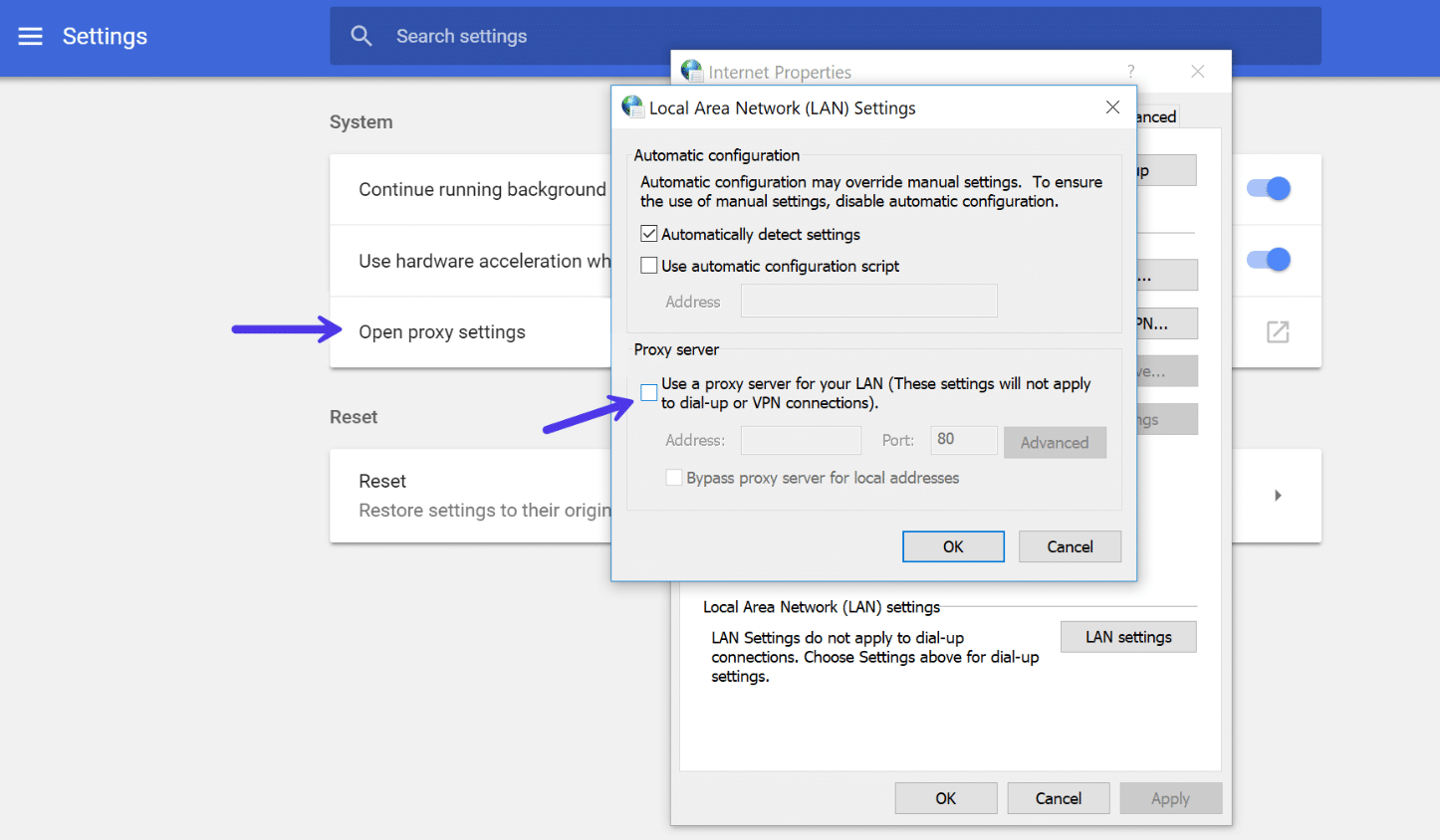 Desactivar la configuración del proxy Chrome en Windows
