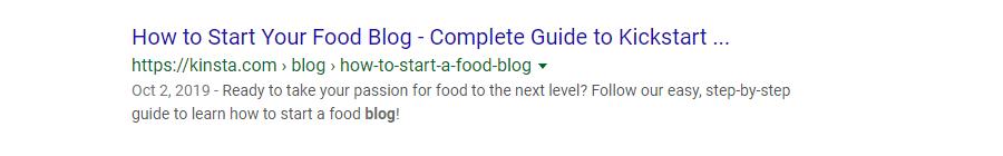 Meta descripción para una entrada de blog