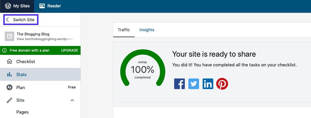 El tablero de WordPress.com.