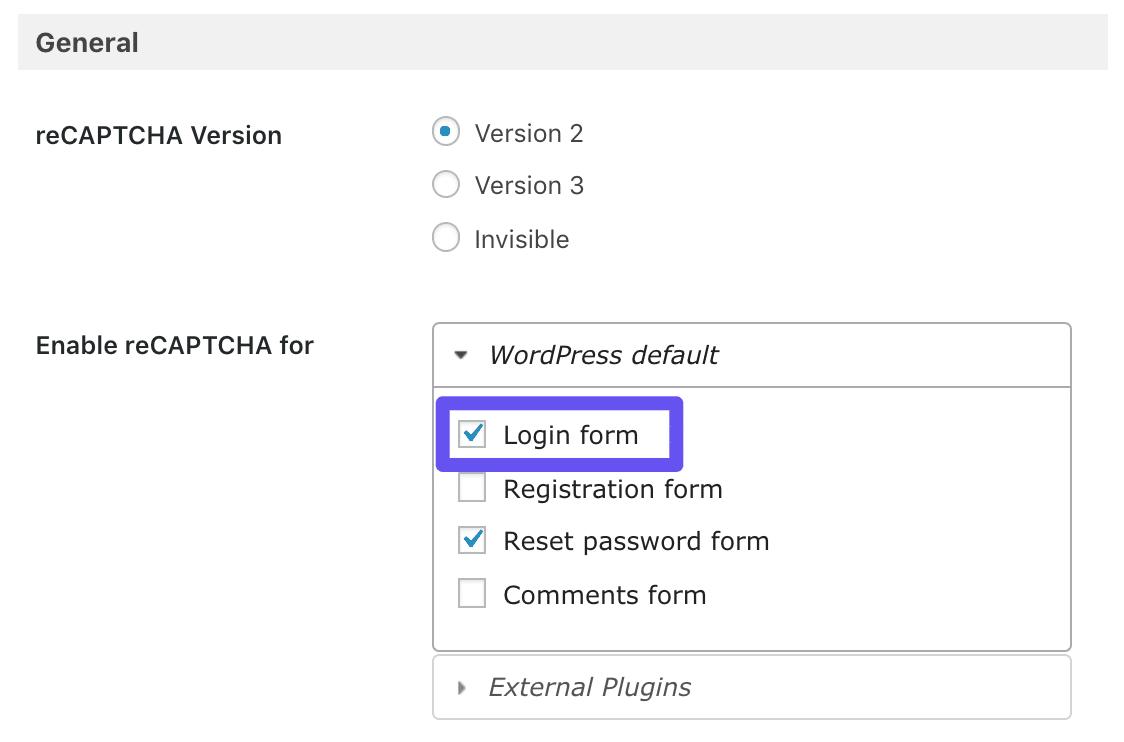 La opción del formulario de acceso el plugin de Google Captcha