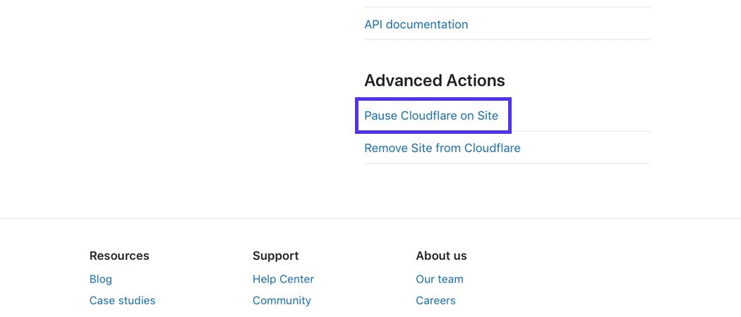 La parte inferior de la página del panel de control de Cloudflare