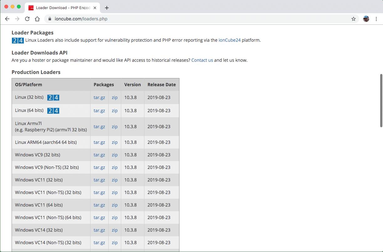 Archivos de descarga de ionCube loader