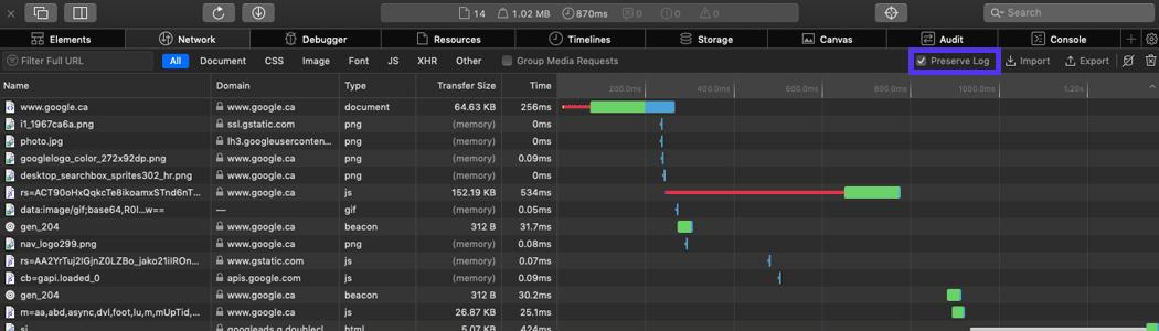 El panel de herramientas para desarrolladores de Safari