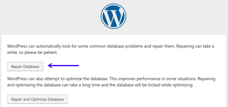 La opción de reparar la base de datos en WordPress