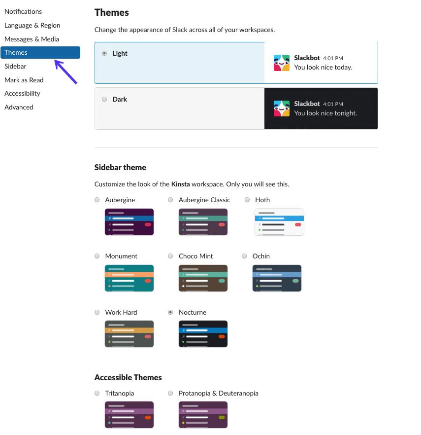 Opciones de barra lateral y temas