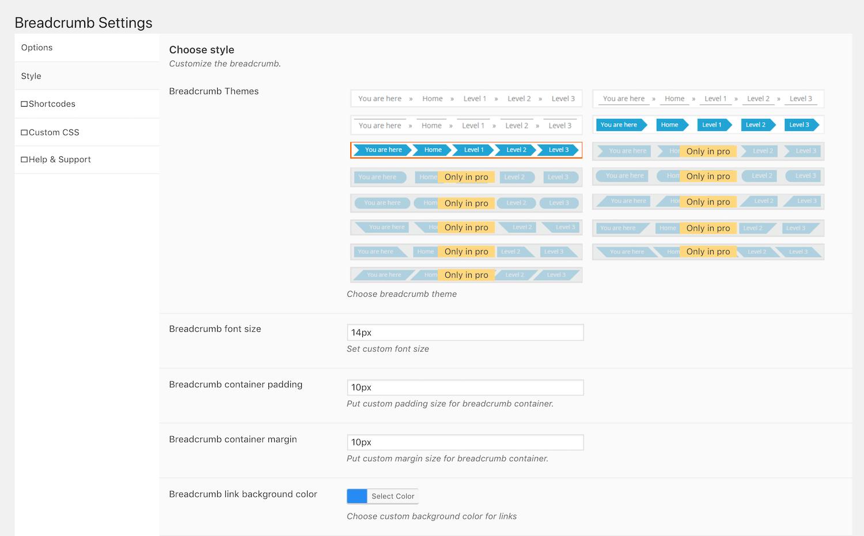 Las opciones de diseño del plugin Breadcrumb