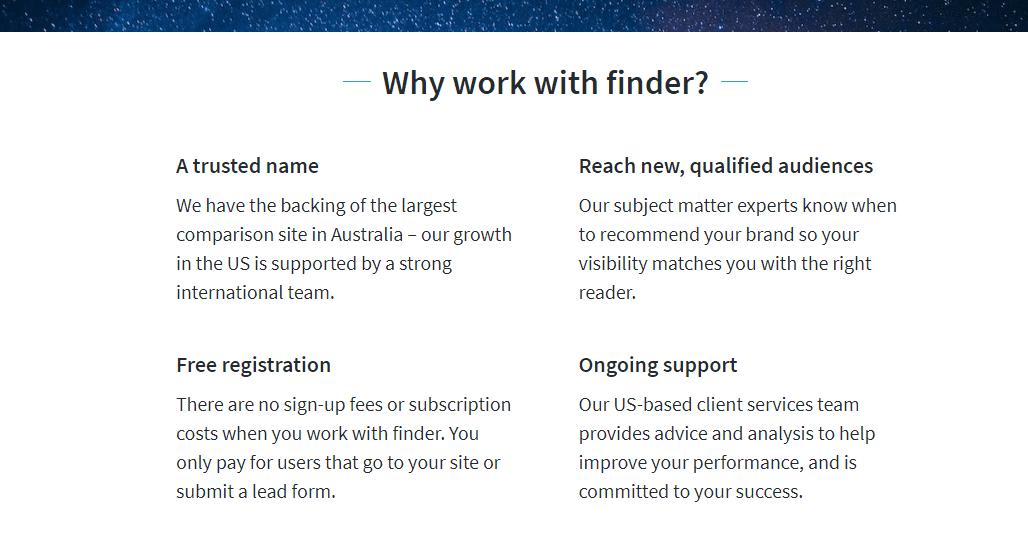 Página de socio de Finder.com