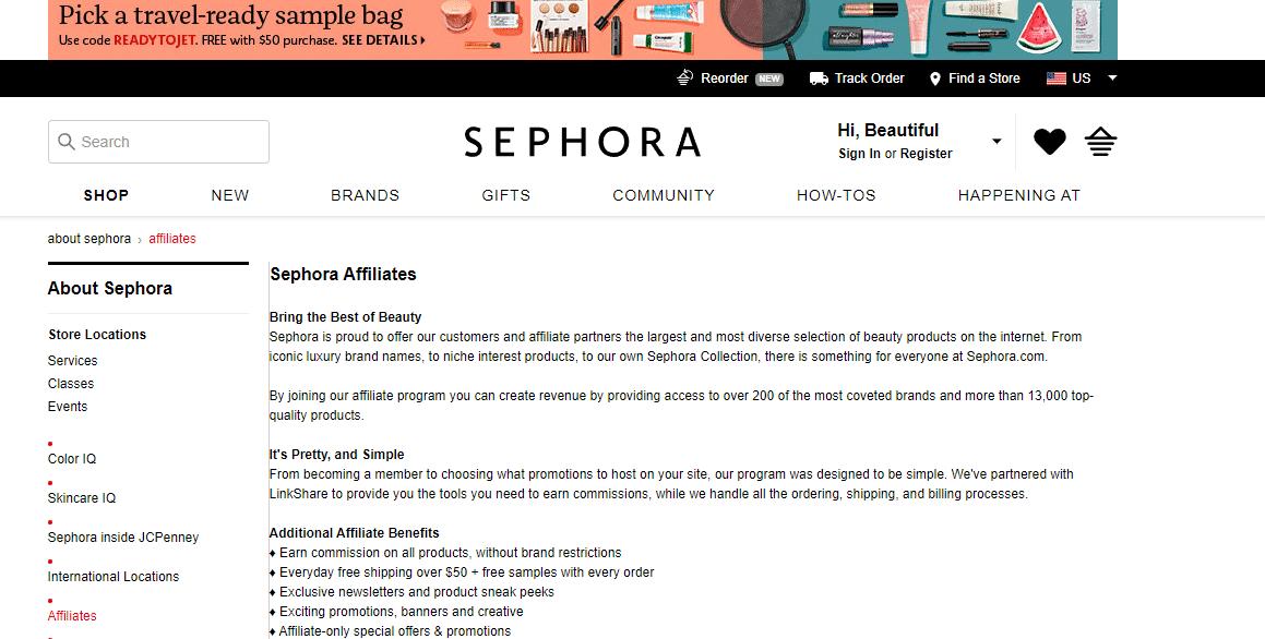 Red de afiliados de Sephora