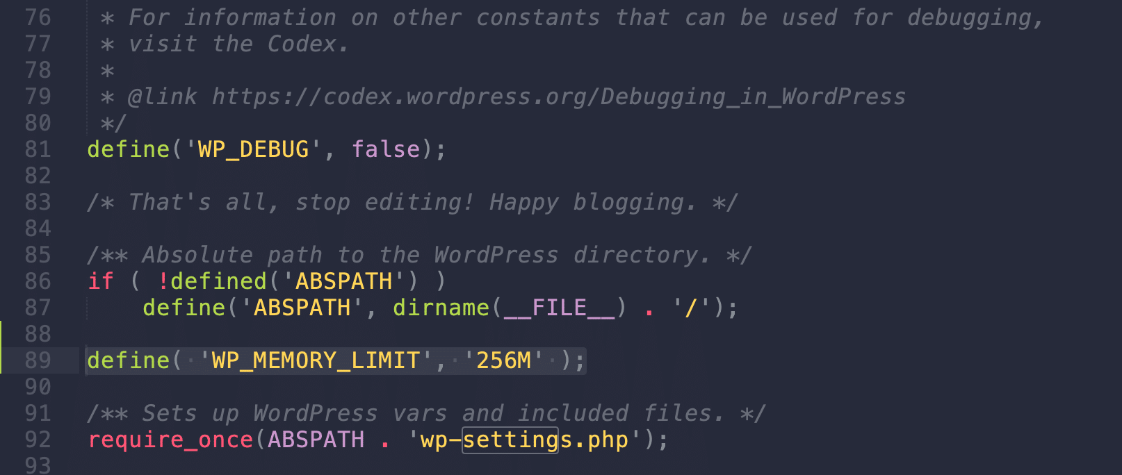 WP_MEMORY_LIMIT en wp-config.php
