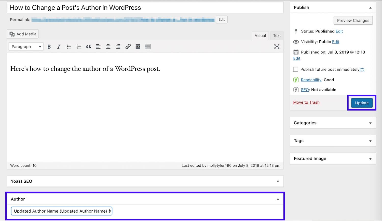 Actualizar el autor en Classic Editor