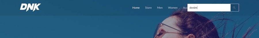 """Ejemplo de búsqueda de """"denim"""" en el menú de la página web"""