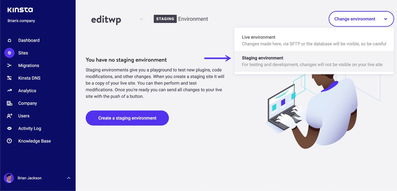 Crear un entorno de preparación de WordPress