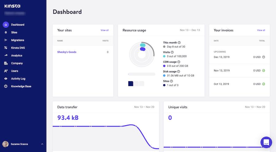 El panel de hosting gestionado MyKinsta para los usuarios.