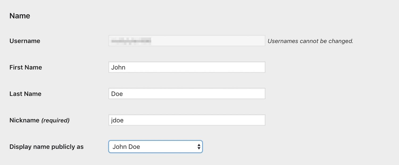 Página de configuración de la cuenta de un usuario