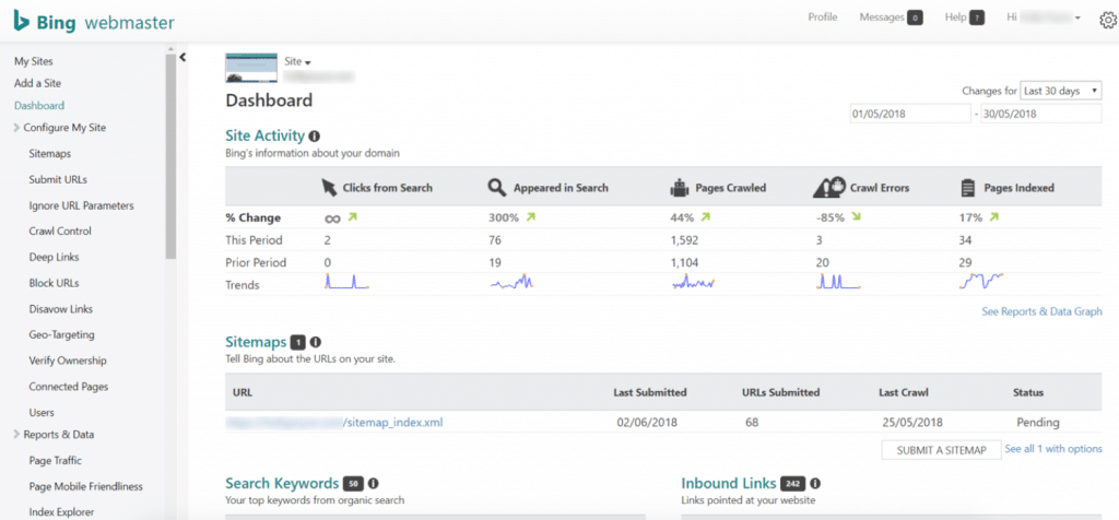 Panel de control de Bing Webmaster Tools