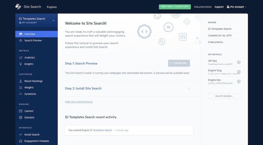 Tablero de búsqueda Elastic del sitio
