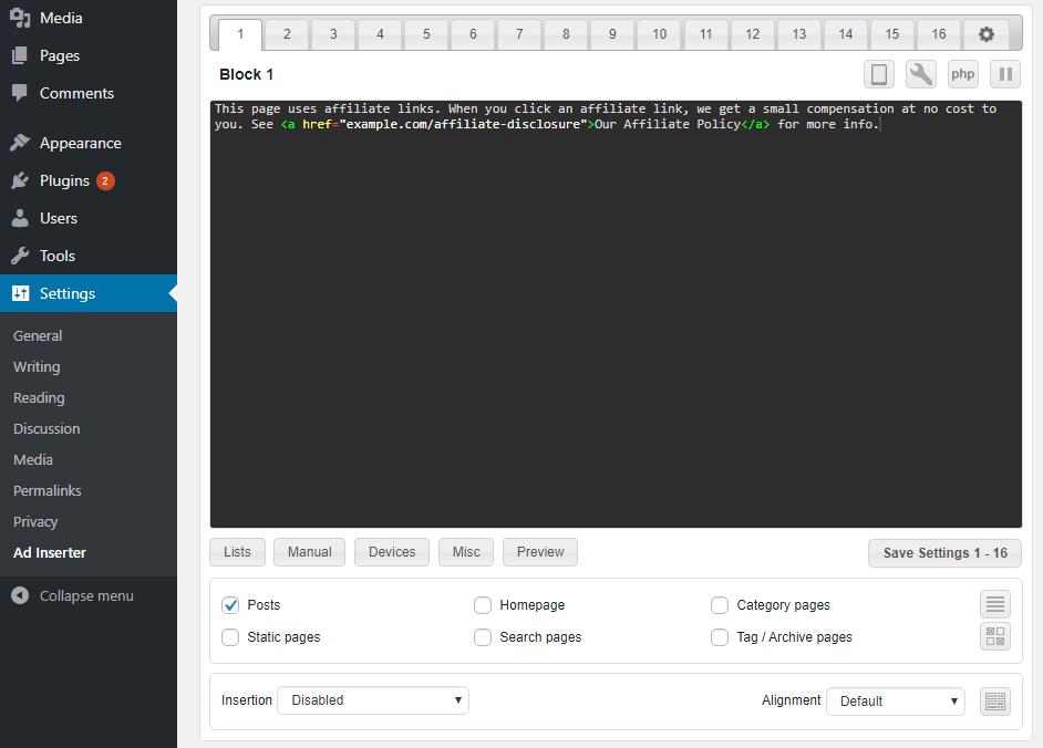 Caja de CSS para ajustar la apariencia de su divulgación de afiliados
