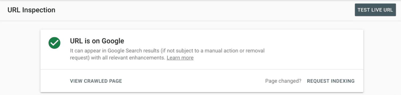 Página indexada en la consola de búsqueda