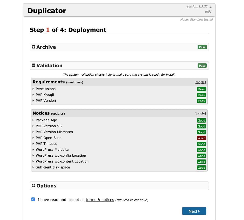 El proceso de importación de Duplicator