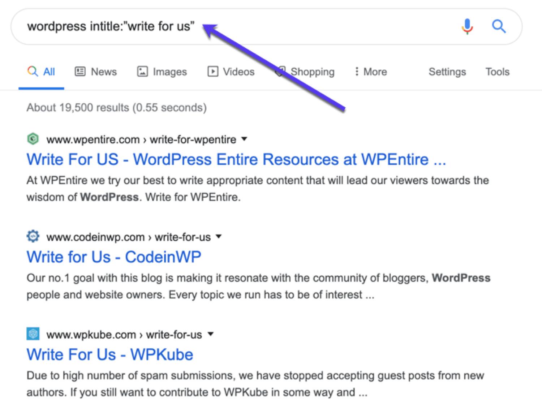Búsqueda de oportunidades de publicación de invitados relevantes para el tema en Google